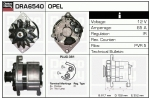 Alternator DRA6540 , Opel , 0986036540