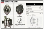 Alternator DRA3479 Opel
