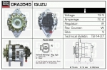 Alternator DRA3545 Opel