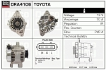alternator DRA4106 Toyota  Yaris 12V 70A , 0986045861